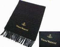 ヴィヴィアンウエストウッド ウールマフラー ブラック 限定ゴールド刺繍 ビビアン Vivienne Westwood