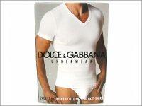 ドルチェ&ガッバーナ Tシャツ DOLCE&GABBANA - ドルガバ VネックTシャツアンダーウェア N60011 ホワイト ロゴ