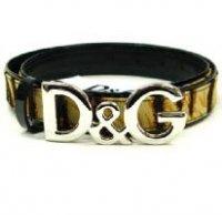 D&G ディー&ジー メンズベルト DC0688-E4374 ブラック×ベージュ ドルガバ