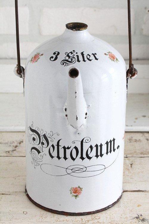 アンティークホーローペトロール缶ローズ