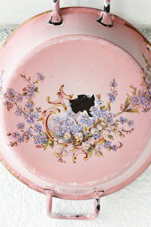 アンティークホーロー花柄すずらん&忘れな草ピンクぼかしパエリアパンプチ