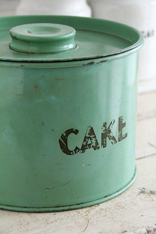 アンティークtin ケーキ缶グリーン