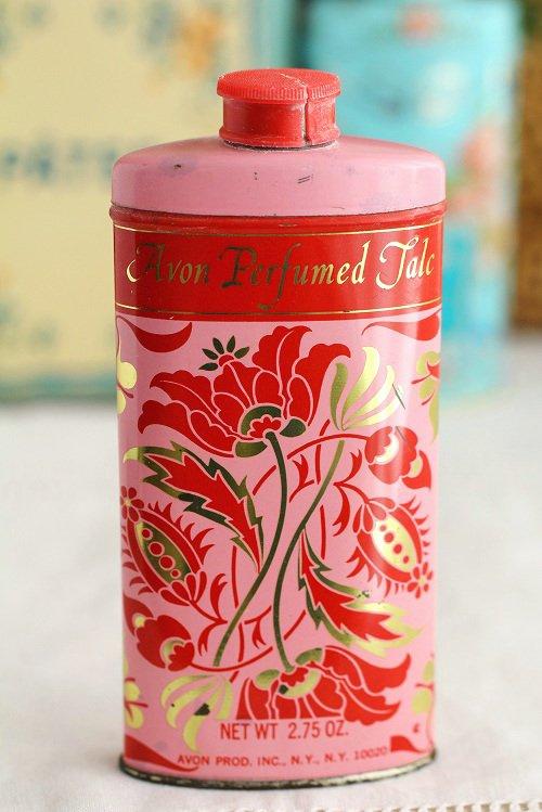 ヴィンテージタルカムパウダー缶ピンク×フラワー