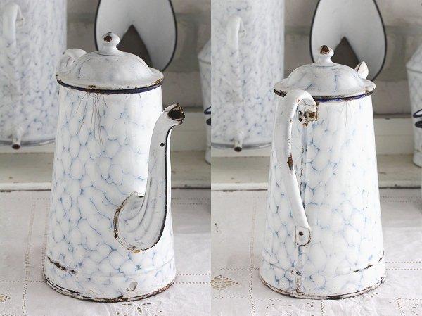 アンティークホーローホワイトチキンワイヤー柄コーヒーポット