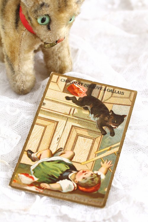 アンティーククロモカード8女の子と猫