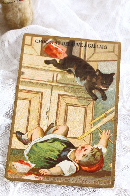 アンティーククロモカード1女の子と猫