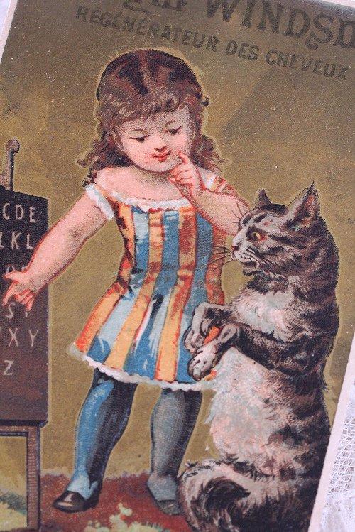 アンティーククロモカード5女の子と猫