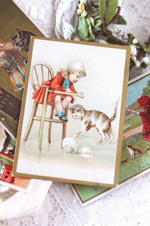 アンティーククロモカード7女の子と猫ちゃん