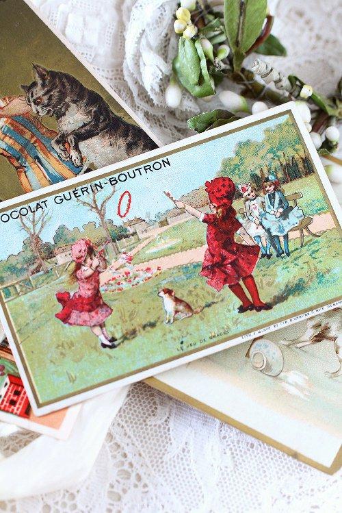 アンティーククロモカード7遊ぶ少女たち