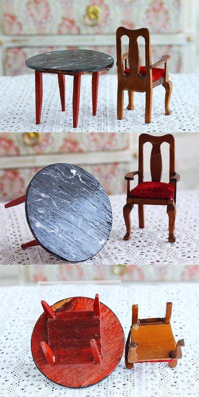 ヴィンテージドール用テーブル&チェアセット