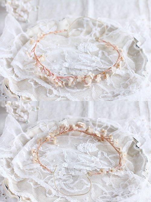 アンティークティアラピンク花冠