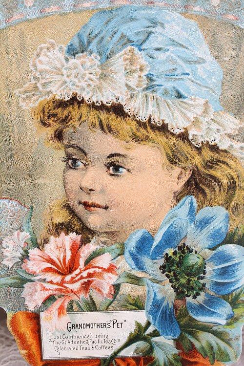 アンティークグランクロモ素敵なボネをかぶった少女