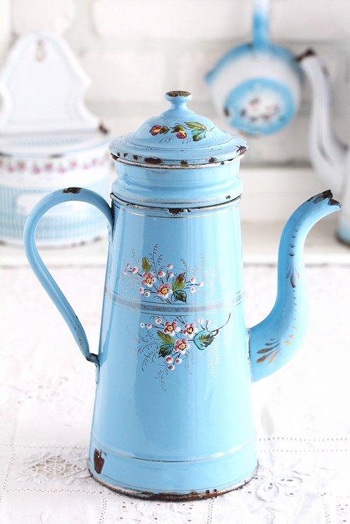 アンティークホーローコーヒービギン花柄ブルー