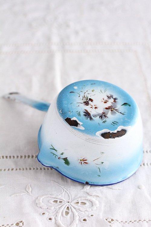 アンティークホーロープチ片手鍋ブルーぼかし花柄