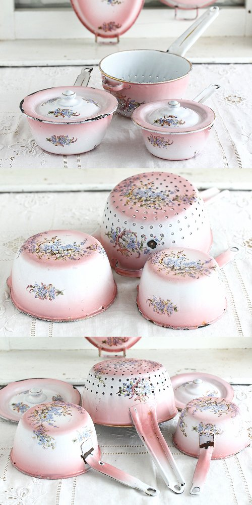 アンティークホーローピンクぼかし花柄ウエディングセット