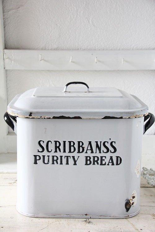 アンティークホーローブレッド缶2段文字Scribban's Purity Bread
