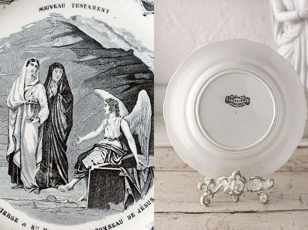 クレイユ&モントローグリザイユ聖マリア&天使のアンティークプレート