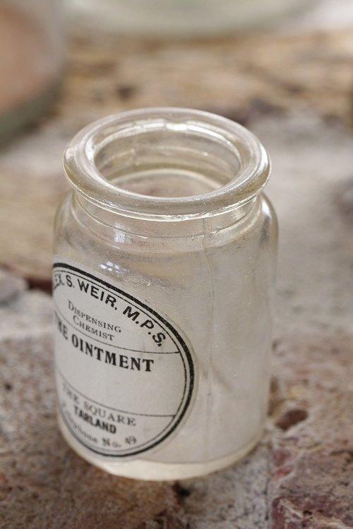 アンティークガラスボトルラベル付C