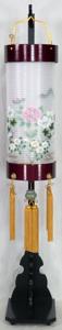 盆提灯-住吉提灯 台付き 二重張り 桜 「牡丹芙蓉」 八寸短(8号短)
