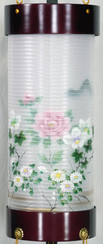 盆提灯-住吉提灯 台付き 二重張り 桜 「牡丹芙蓉」 八寸短(8号短)の画像1