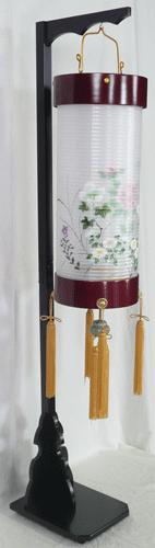 盆提灯-住吉提灯 台付き 二重張り 桜 「牡丹芙蓉」 八寸短(8号短)の画像2