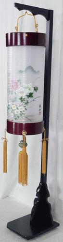 盆提灯-住吉提灯 台付き 二重張り 桜 「牡丹芙蓉」 八寸短(8号短)の画像3