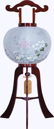 盆提灯-大内行灯 二重張り 桜 「牡丹芙蓉」 尺一(11号)の画像1