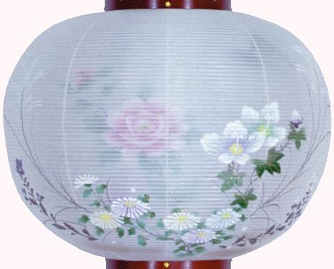 盆提灯-大内行灯 二重張り 桜 「牡丹芙蓉」 尺一(11号)の画像2