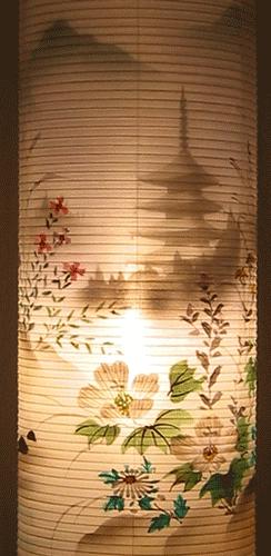 盆提灯-住吉提灯 二重張り 本塗り 「五重の塔」 尺二(12号)の画像3