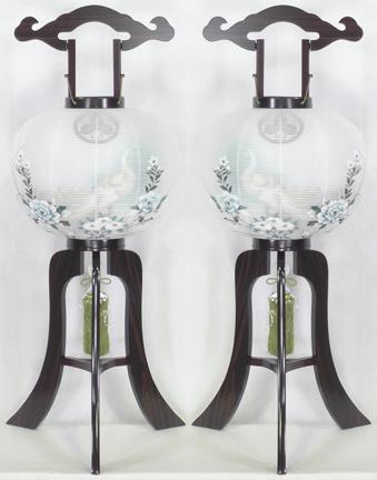盆提灯-大内行灯 二重張り 黒檀 「孔雀墨絵」 尺四(14号) 一対の画像1
