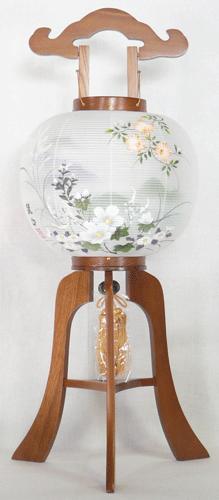 盆提灯-大内行灯 二重張り ケヤキ 「秋の連山」 尺一(11号)の画像1