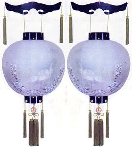盆提灯-御殿丸 二重張り 黒檀 「孔雀墨絵」 尺八(18号) 一対
