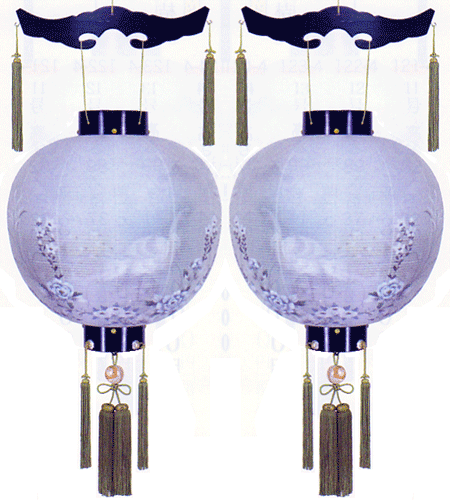 盆提灯-御殿丸 二重張り 黒檀 「孔雀墨絵」 尺八(18号) 一対の画像1