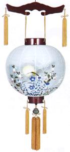 盆提灯-御殿丸 二重張り 桜 「蛍草」 尺四(14号)