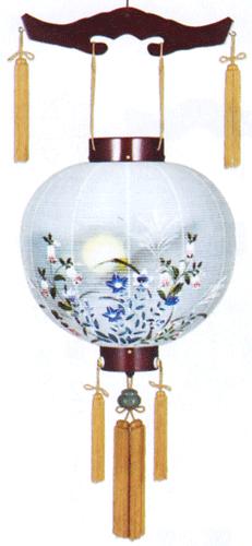 盆提灯-御殿丸 二重張り 桜 「蛍草」 尺四(14号)の画像1