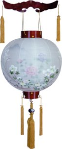 盆提灯-御殿丸 二重張り 桜 「牡丹芙蓉」 尺四(14号)