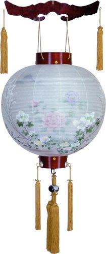 盆提灯-御殿丸 二重張り 桜 「牡丹芙蓉」 尺四(14号)の画像1
