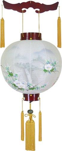 盆提灯-御殿丸 二重張り 桜 「照葉」 尺四(14号)の画像1