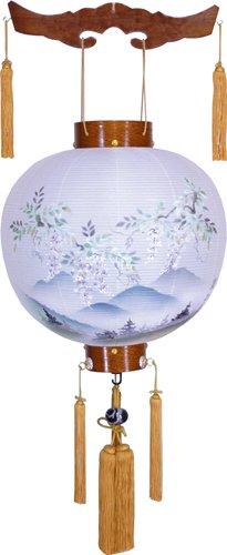 盆提灯-御殿丸 絹張り ケヤキ 「藤山水」 尺八(18号)の画像1
