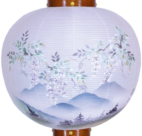 盆提灯-御殿丸 絹張り ケヤキ 「藤山水」 尺八(18号)の画像2