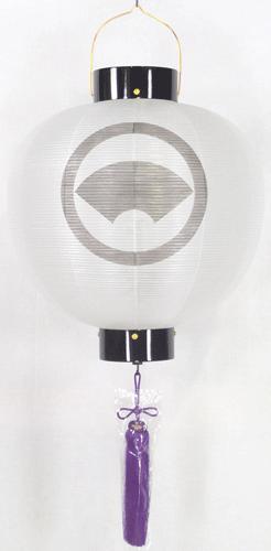 盆提灯-門提灯 丸型 絹張り 尺三(13号) 家紋・家名代無料の画像1