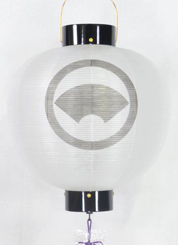 盆提灯-門提灯 丸型 絹張り 尺三(13号) 家紋・家名代無料の画像2