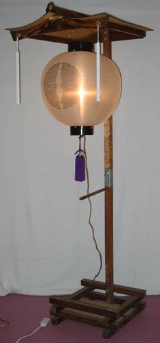 盆提灯-門提灯 丸型 絹張り 尺八(18号) 家紋・家名代無料の画像3