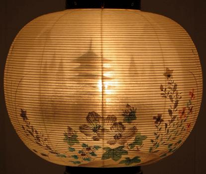 盆提灯-大内行灯 二重張り 本塗り 「五重の塔」 尺二(12号)の画像3