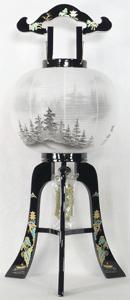 盆提灯-大内行灯 二重張り 本金蒔絵 「京山水」 尺二(12号)