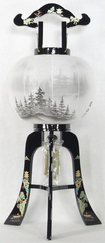 盆提灯-大内行灯 二重張り 本金蒔絵 「京山水」 尺二(12号)の画像1