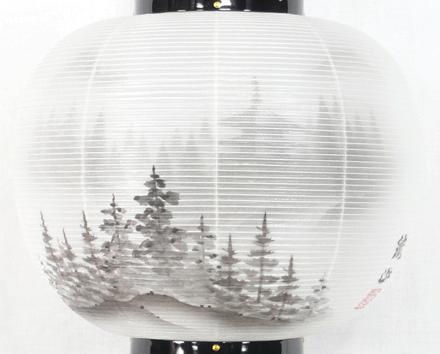 盆提灯-大内行灯 二重張り 本金蒔絵 「京山水」 尺二(12号)の画像2