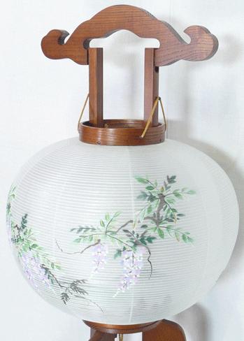 盆提灯-大内行灯 二重張り 欅 「藤山水」 尺(10号)の画像3