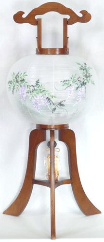 盆提灯-大内行灯 二重張り 欅 「藤山水」 尺二(12号)の画像1