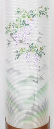 盆提灯-住吉提灯 二重張り 欅 「藤山水」 九寸(9号)の画像2